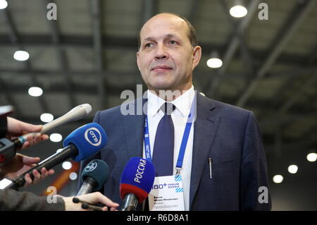 Yekaterinburg, Russia. 05th Dec, 2018. YEKATERINBURG, RUSSIA - DECEMBER 5, 2018: Mikhail Volkov, minister of construction and infrastructure development of the Sverdlovsk Region, attends the 100  Technologies International Forum for High-rise and Special Construction at the Yekaterinburg-Expo Exhibition Center. Donat Sorokin/TASS Credit: ITAR-TASS News Agency/Alamy Live News - Stock Photo