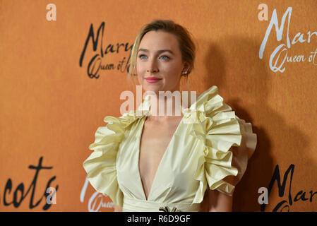 New York, USA. 4th Dec 2018. Saoirse Ronan attends the New York premiere of Mary Queen Of Scots at Paris Theater on December 4, 2018 in New York City. Credit: Erik Pendzich/Alamy Live News - Stock Photo
