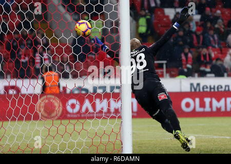 Moscow, Russia. 05th Dec, 2018. MOSCOW, RUSSIA - DECEMBER 5, 2018: Spartak Moscow's goalkeeper Alexander Maksimenko in the 2018/2019 Russian Cup quarterfinal football match against Ural Yekaterinburg at Otkritie Arena. Stanislav Krasilnikov/TASS Credit: ITAR-TASS News Agency/Alamy Live News - Stock Photo