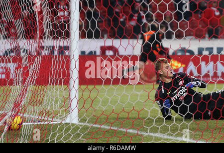 Moscow, Russia. 05th Dec, 2018. MOSCOW, RUSSIA - DECEMBER 5, 2018: Spartak Moscow's goalkeeper Alexander Maksimenko concedes a goal in the 2018/2019 Russian Cup quarterfinal football match against Ural Yekaterinburg at Otkritie Arena. Stanislav Krasilnikov/TASS Credit: ITAR-TASS News Agency/Alamy Live News - Stock Photo