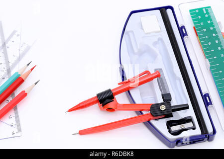 School supplies set on a white background - Stock Photo
