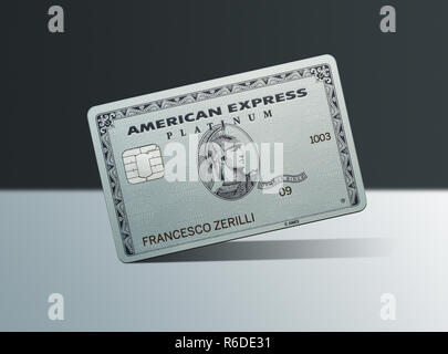 Close up of American Express platinum card, tilted on white surface - Stock Photo