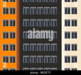 Close up digital image of city office block in color - Stock Photo