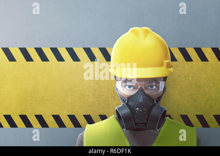 Closeup view of construction worker with protective mask - Stock Photo