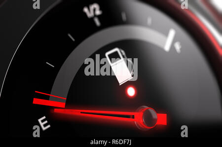 Empty Fuel Tank Indicator - Stock Photo