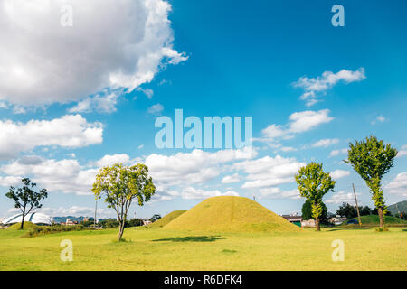 Royal tomb ancient ruins in Gyeongju, Korea - Stock Photo