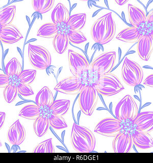 Floral seamless pattern. Hand drawn creative flowers. Artistic background with blossom. Abstract herb - Stock Photo