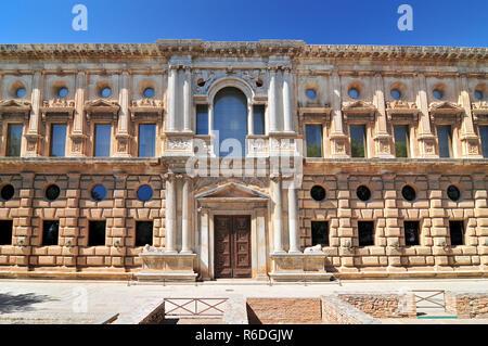 Palace Of Charles V Alhambra, Granada Andalusia, Spain - Stock Photo