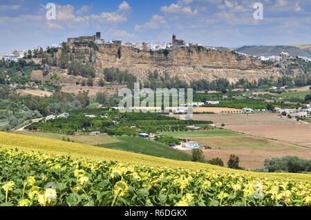 Landscape With White Farmhouse Sunflowers And Arcos De La Frontera Andalucía Spain - Stock Photo