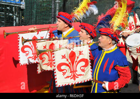 Calcio Storico Opening Ceremony Of The Match In Historical Football At The Piazza Di Santa Croce In Florence, Italy - Stock Photo