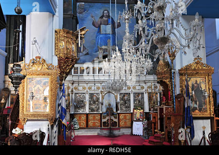 Interior Of The Greek Orthodox Cathedral Dedicated To Panagia Trimartyri Chania Crete - Stock Photo