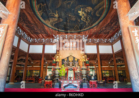 Honden Main Hall, Interior View With Golden Painted Dragon In The Ceiling At Nanzen-Ji Temple Kyoto Japan - Stock Photo