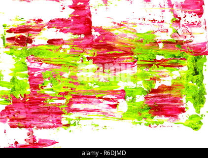 Vivid pink and green paint spread abstractly - Stock Photo