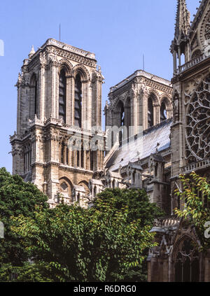 France.Paris.Cathedral of Notre Dame (1163-1330).The two front towers from the south.Photo before the fire of 2019.