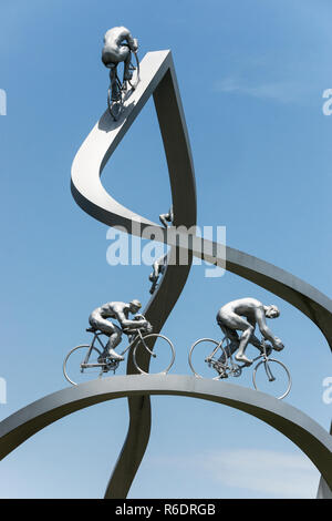 France.Tour de France monument on the A64-E80 motorway.Come off a few miles west of Tarbes onto the Aire de Pyrenees service station. - Stock Photo