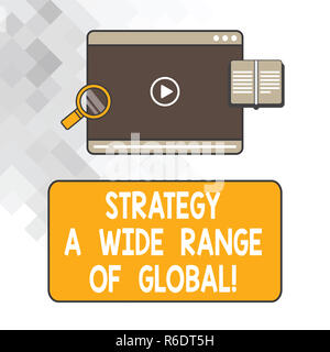 Writing note showing Strategy A Wide Range Of Global. Business photo showcasing Worldwide communications strategies Tablet Video Player Upload and Mag - Stock Photo