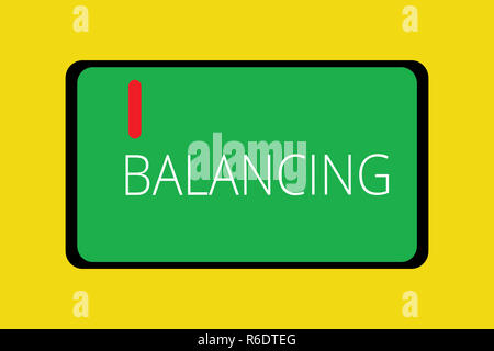 Word writing text Balancing. Business concept for put something in a steady position so that it does not fall Tablet Mobile Smartphone Cellular Device - Stock Photo