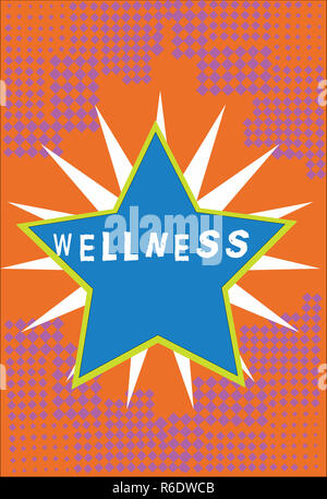 Handwriting text Wellness. Concept meaning state of being in good health especially as actively pursued goal Bordered Glowing Star on Rays of Light St - Stock Photo