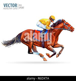 Jockey on horse. Champion. Horse racing. Hippodrome. Racetrack. Jump racetrack. Horse riding. Racing horse coming first to finish line. Isolated on white background. Vector illustration - Stock Photo