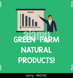 Conceptual hand writing showing Green Farm Natural Products. Business photo text Natural environment agricultural activities Man in Business Suit Poin - Stock Photo
