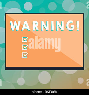 Text sign showing Warning. Conceptual photo statement or event that warns of something or serves as example Rectangular Shape Form in half diagonal sp - Stock Photo