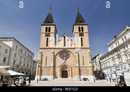 The Cathedral Of Jesus' Heart In Sarajevo Bosnia And Herzegovina - Stock Photo
