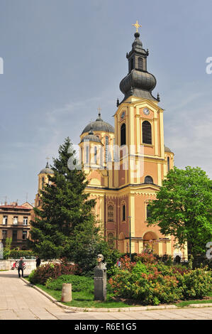 The Cathedral Church Of The Nativity Of The Theotokos In Sarajevo Bosnia That Cathedral Is The Largest Serbian Orthodox Church In Sarajevo - Stock Photo