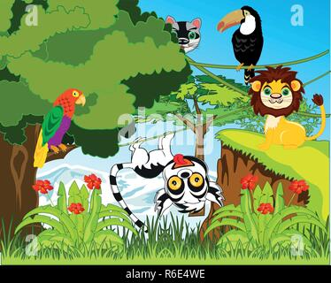 Green jungle and their inhabitants vector illustration - Stock Photo