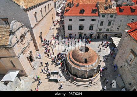 Dubrovnik Onofrio Fountain, View From Old Town City Walls, Dalmatia, Croatia - Stock Photo