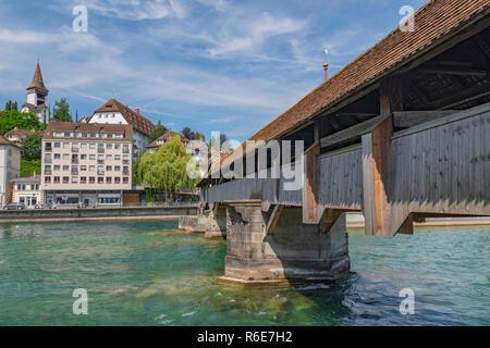 The Spreuer Bridge (Spreuerbrucke Or Muhlenbrucke), One Of Two Extant Covered Wooden Footbridges In The City Of Lucerne Over Reuss River, Switzerland - Stock Photo