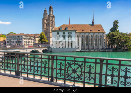 The Grossmunster (Great Minster) Romanesque Style Protestant Church In Zurich, Switzerland - Stock Photo