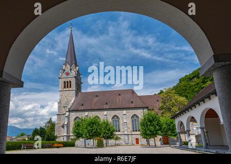 View Of Cathedral Of St Florin In Vaduz, Liechtenstein - Stock Photo