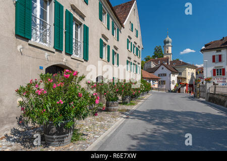 Municipality Maienfeld In The Landquart Region In The Swiss Canton Of Graubunden Tourist Destination In The Alps, Both Because Of The Local Wine And B - Stock Photo