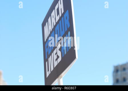 March 24 2018: MARCH FOR OUR LIVES - American Gun Violence Protest - Students from Stoneman Douglas High School, Parkland Florida, Politics and NRA - Stock Photo