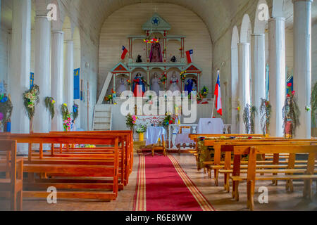 CHILOE, CHILE - SEPTEMBER, 27, 2018: Inside view of Jes s of Nazareno church in Aldachildo on Lemuy Island, is one of the Churches of Chilo Archipelago - Stock Photo