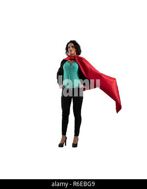 Successful businesswoman acts like a super hero. isolated on white background - Stock Photo