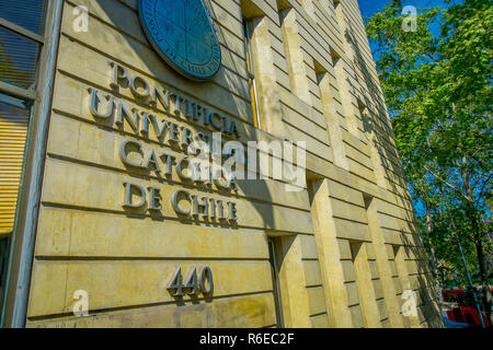 SANTIAGO, CHILE - OCTOBER 16, 2018: Universidad Catolica de Chile - Catholic University Front Entrance - Stock Photo