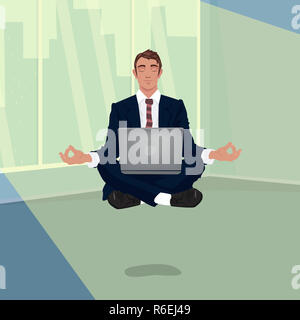 Businessman hovering in office in lotus pose - Stock Photo