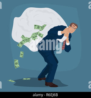 Cunning businessman carries huge bag full of cash - Stock Photo