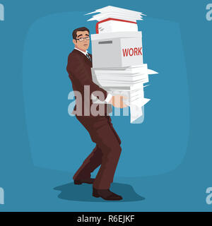 Sad businessman carries working papers - Stock Photo