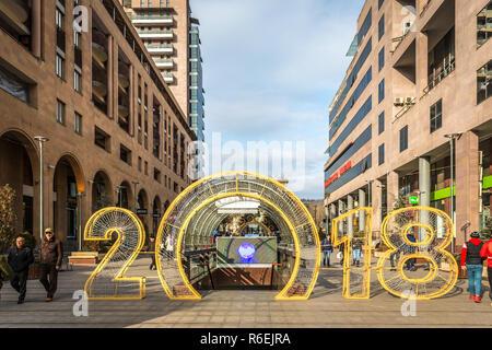Yerevan, Armenia - Jan 8th 2018 - The 2018 new year sign in Yerevan downtown, capital of Armenia. - Stock Photo