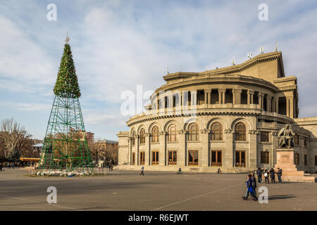 Yerevan, Armenia - Jan 8th 2018 - Tourists and locals walking in front of the yerevan Opera in Yerevan in Armenia - Stock Photo