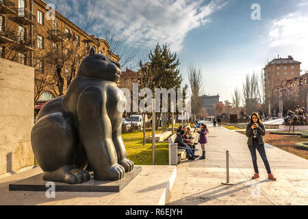 Yerevan, Armenia - Jan 8th 2018 - Tourists and locals enjoying the open air museum at the Cascade in Yerevan, Armenia - Stock Photo