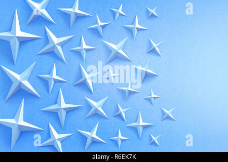 Blue stars on a blue background with copyspace - Stock Photo