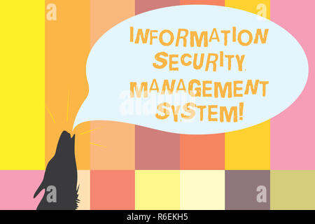 Word writing text Information Security Management System. Business concept for IT safety secure technology Contour shape of Wolf Head Pointing upward  - Stock Photo