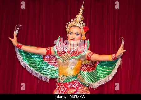 Dancer Performing Classical Thai Dance In Bangkok Thailand - Stock Photo