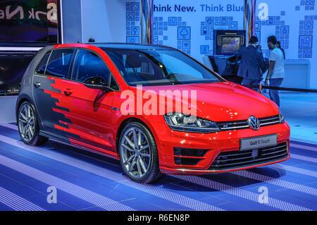 FRANKFURT - SEPT 2015: Volkswagen VW Golf R Touch presented at IAA International Motor Show on September 20, 2015 in Frankfurt, Germany - Stock Photo