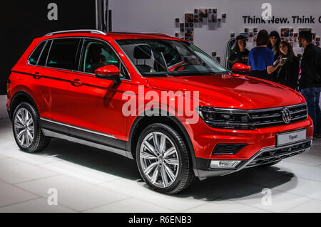 FRANKFURT - SEPT 2015: Volkswagen VW Tiguan presented at IAA International Motor Show on September 20, 2015 in Frankfurt, Germany - Stock Photo