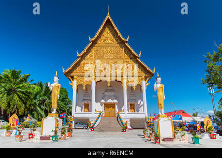 Buddha Statues In Front Of Wat That Luang Neua Temple, Vientiane, Laos, Indochina, Asia