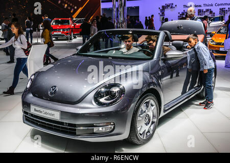 FRANKFURT - SEPT 2015: Volkswagen VW Beetle Cabriolet presented at IAA International Motor Show on September 20, 2015 in Frankfurt, Germany - Stock Photo